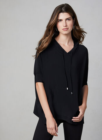 Joseph Ribkoff - Hooded Top, Black, hi-res,  Joseph Ribkoff, Canada, jersey, short sleeves, cape, kangaroo pocket, hood, fall 2019, winter 2019