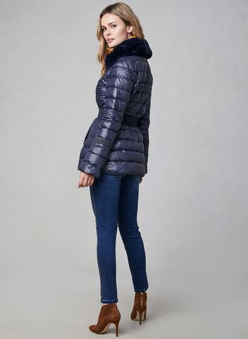 Manteau compressible en duvet , Bleu, hi-res,  manteau, duvet, fausse fourrure, poches, compressible, automne hiver 2019