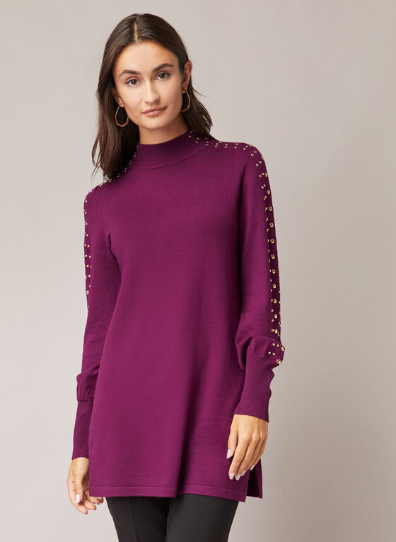 Stud Detail Tunic Sweater, Purple
