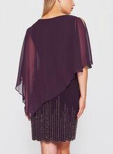 Beaded Chiffon Poncho Dress, Purple, hi-res
