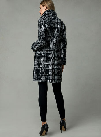 Karl Lagerfeld Paris - Plaid Print Coat, Black, hi-res,