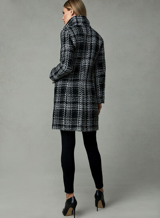 Karl Lagerfeld Paris - Plaid Print Coat, Black, hi-res
