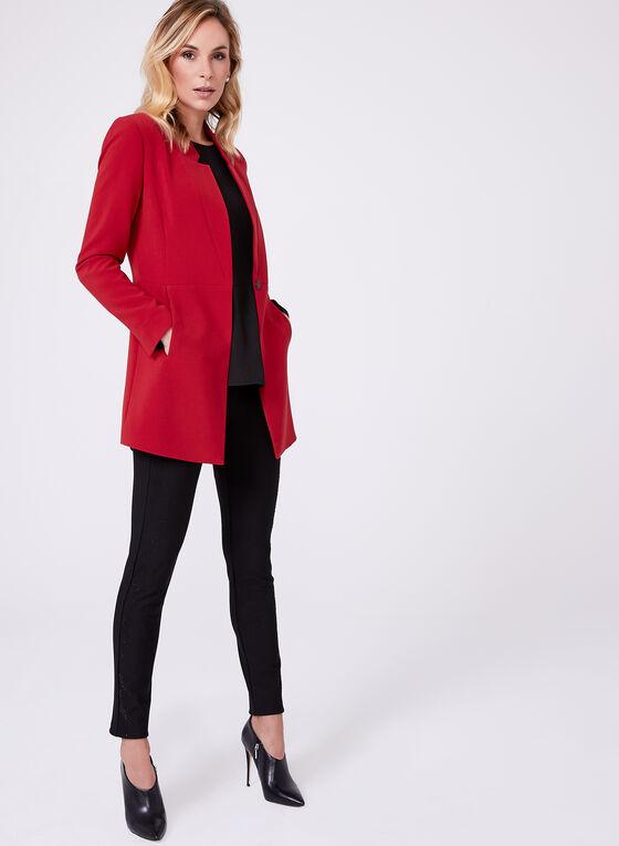 Veste tailleur longue à col cranté, Rouge, hi-res