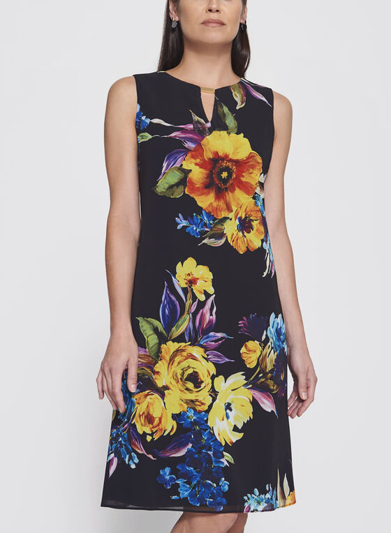 Frank Lyman - Floral Print Chiffon Dress, Black, hi-res