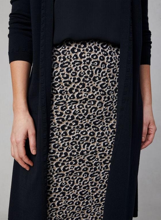 Jupe crayon pull-on à imprimé léopard, Noir