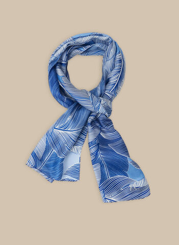 Silk Tropical Print Scarf, Blue,  scarf, lightweight, oblong, tropical print, leaf print, silk, silk scarf, spring 2020, summer 2020