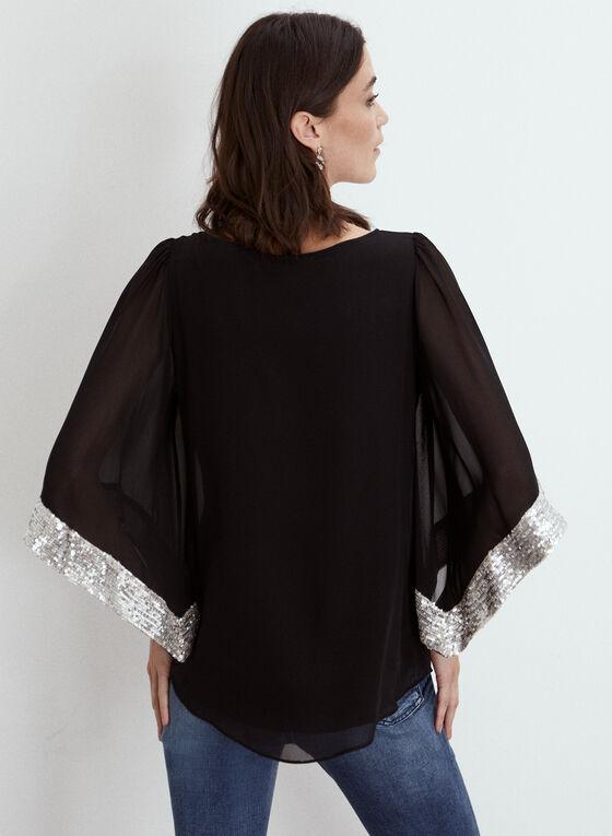 Joseph Ribkoff - Blouse kimono à détails métallisés, Noir