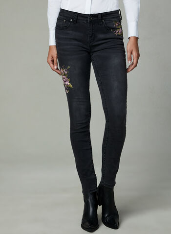 Grace in LA - Floral Embroidered Jeans, Black, hi-res