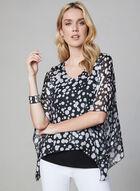 Dot Print Kimono Sleeve Top, Black, hi-res