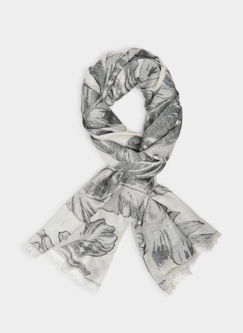 Vince Camuto -  Palm Leaves Motif Scarf , Black,  scarf, palm leaves, rayon, fringes, Spring 2020