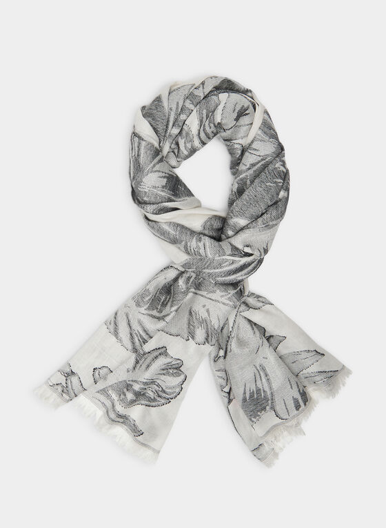 Vince Camuto -  Palm Leaves Motif Scarf , Black