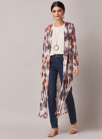 Veste longue ouverte à effet délavé , Rouge,  haut, blouse, veste ouverte, manches 3/4, mousseline, automne hiver 2020