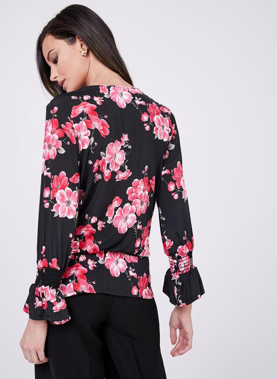 Floral Print Flutter Hem Top, Multi, hi-res