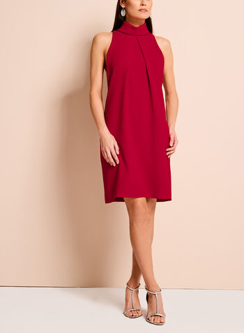 Collared Crepe Shift Dress, Red, hi-res