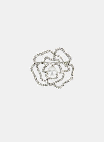 Floral Crystal Pin, Off White, hi-res