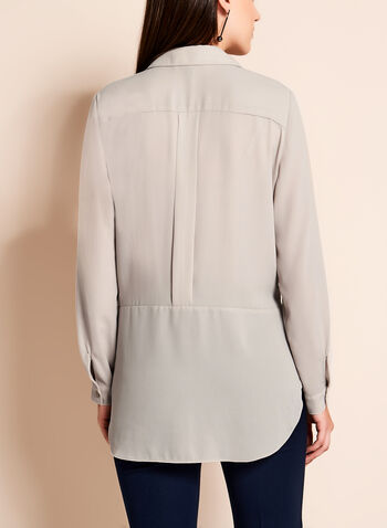 Long Sleeve Notch Collar Tunic Blouse, Brown, hi-res