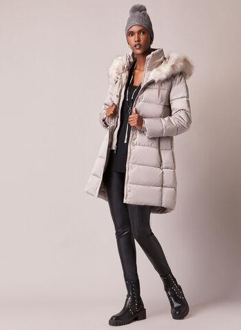 Tahari - Faux Fur Trim Quilted Coat, Silver,  fall winter 2020, coat, faux fur, stand collar, grosgrain, ribbed, matte, satin, vegan down, thermatec, vest, warm, winter, hood