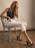 Capri en jean à ourlet frangé, Blanc