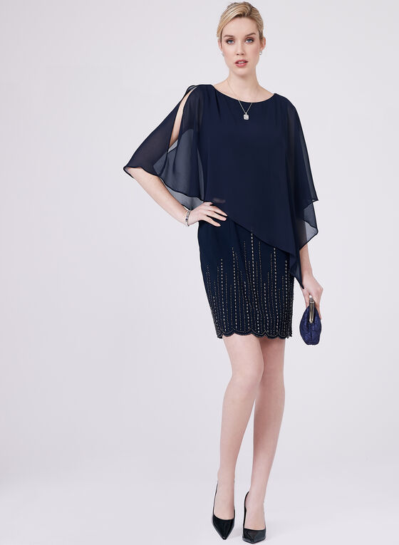 BA Nites - Beaded Poncho Dress, Blue, hi-res