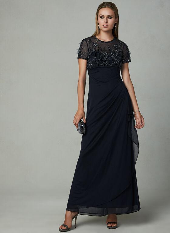 BA Nites - Robe en maille drapée à broderies, Bleu