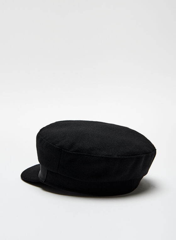 Gold Detail Military Cap, Black, hi-res