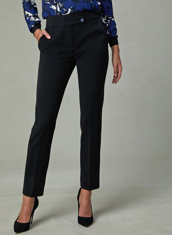 Slim Leg Ankle Pants, Black, hi-res
