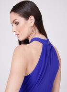 Maggy London - Robe de jour ajustée à col licou, Bleu, hi-res