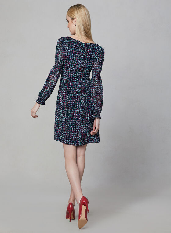 Karl Lagerfeld Paris - Houndstooth Print Dress, Black, hi-res