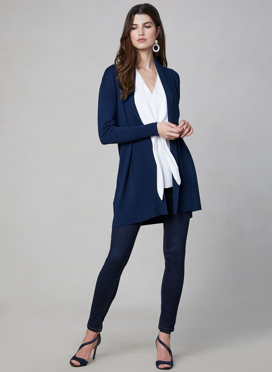 Long cardigan en tricot, Bleu, hi-res