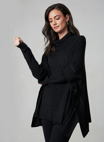 Long Sleeve Knit Poncho, Black, hi-res,  poncho, knit, long sleeves, fall 2019, winter 2019