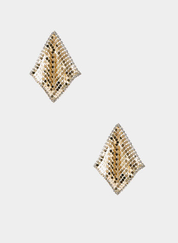 Metallic Diamond Shape Earrings, Gold,  gold earrings, long earrings, gold mesh