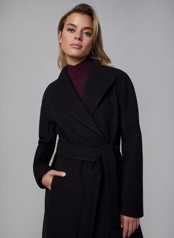 Belted Wool-Like Coat, Black
