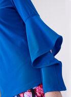Blouse en crêpe à manches drapées et volantées, Bleu, hi-res