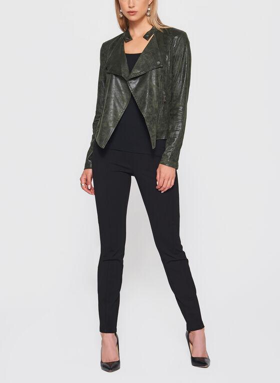 Zipper Trim Faux Leather Jacket, Green, hi-res
