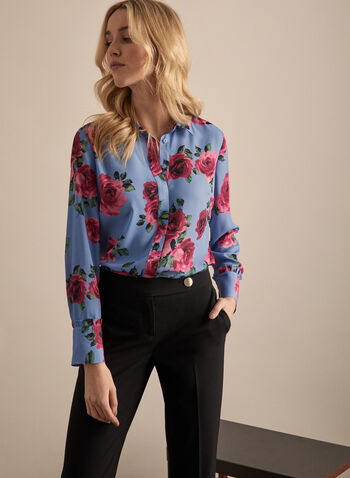 Floral Print Crepe Blouse, Blue,  blouse, floral, long sleeves, crepe, spring summer 2020