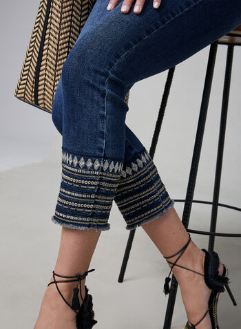 Embroidered Slim Leg Jeans, Blue, hi-res,  jeans, denim, slim leg, frayed, spring 2019