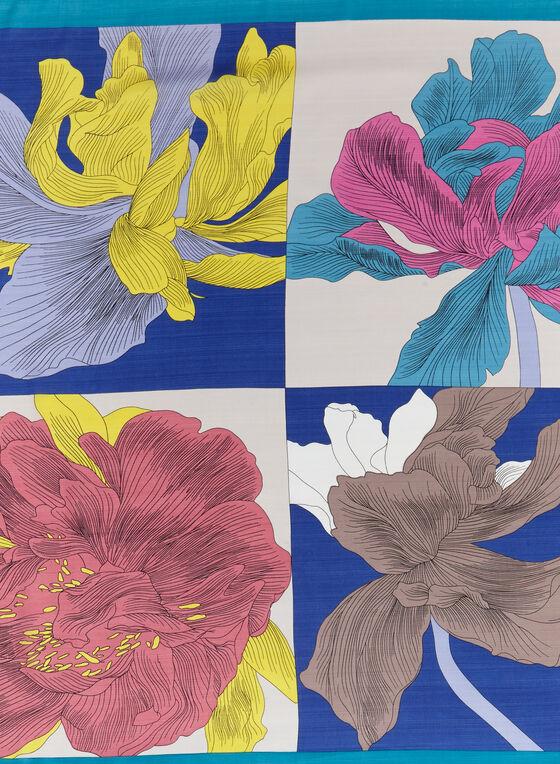 Pop Art Floral Print Scarf, Blue, hi-res