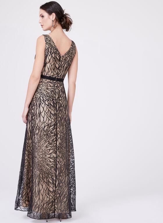 Ellen Tracy - Leaf Print Dress, Black, hi-res