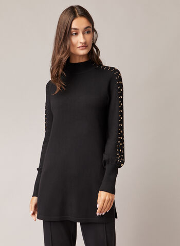 Stud Detail Tunic Sweater, Black,  sweater, tunic, studs, balloon sleeves, knit, mock neck, fall winter 2020