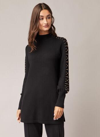 Pull tunique à détails cloutés, Noir,  pull, col montant, manches ballon, tricot, cloutés, automne hiver 2020