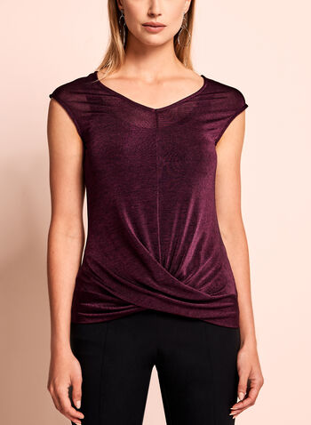 Sleeveless Heather Knit Top, Red, hi-res