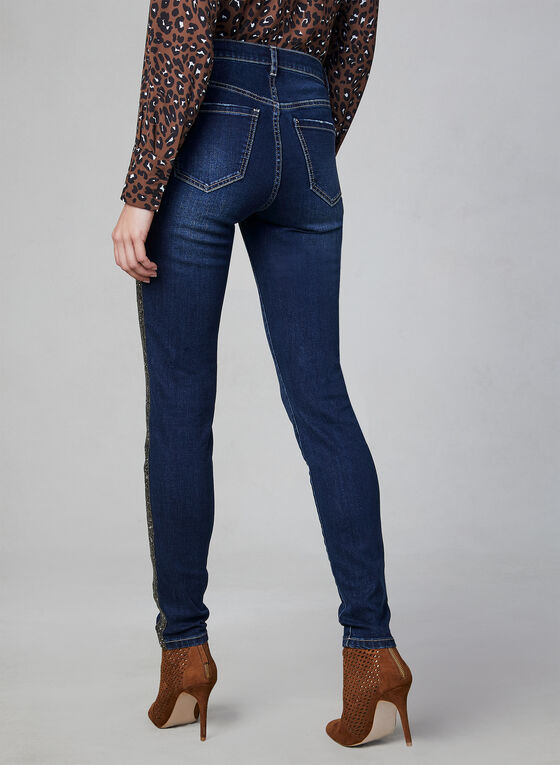 Rhinestone Slim Leg Jeans, Blue