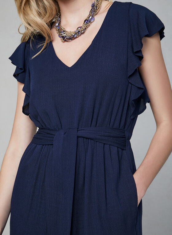 Kensie – Ruffled Cap Sleeve Cropped Jumpsuit, Blue, hi-res