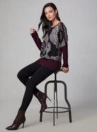 Paisley Print Knit Sweater, Purple