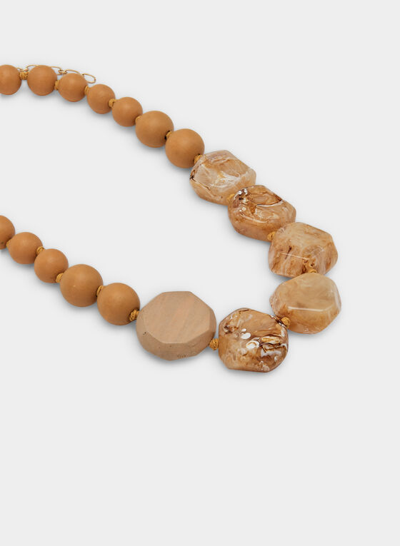 Wood Marble Necklace, Off White