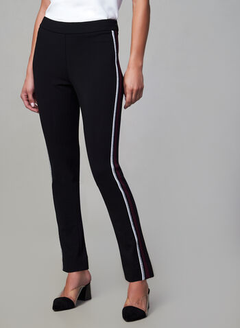 Contrast Trim Slim Leg Pants, Black, hi-res,  pull-on, stretchy, contrast trim, fall 2019, winter 2019