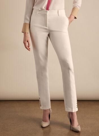 Giselle Button Detail Pants , Off White,  pants, giselle, slim leg, pockets, spring 2020