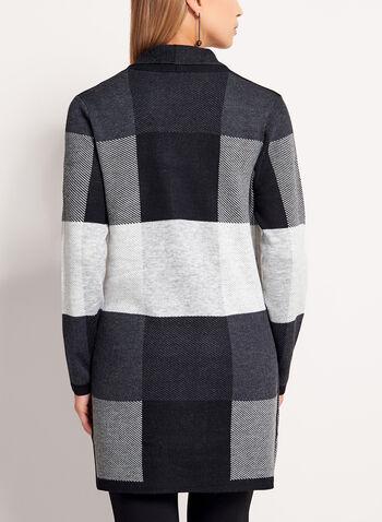 Long cardigan en tricot carreauté, Noir, hi-res