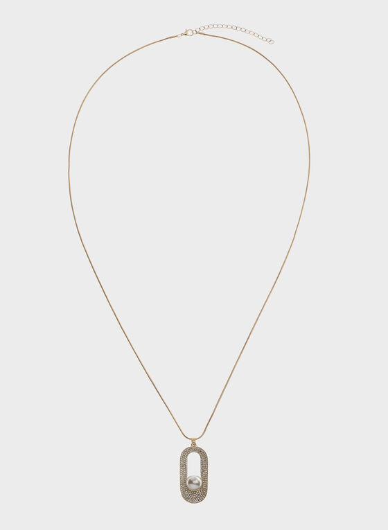 Pearl Insert Crystal Pavé Pendant Snake Chain , Off White, hi-res