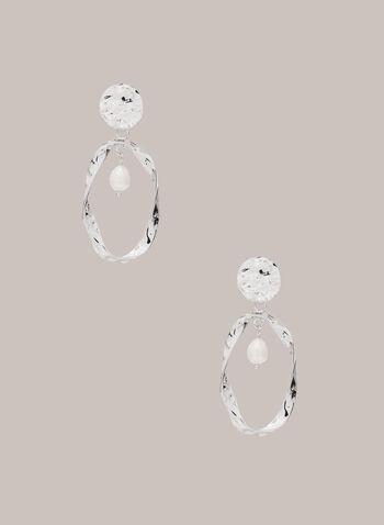 Twisted Open Oval Dangle Earrings, Off White,  fall winter 2020, earrings, textured, pearl, jewelry, jewellery, accessories